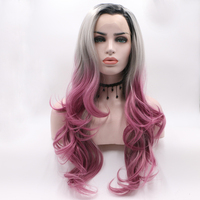 Fantasy Beauty Black Friday Ombre Synthetic Lace Front Wigs Dark Roots Blonde to Pink Half Hand Tied Heat Resistant Fiber Wig