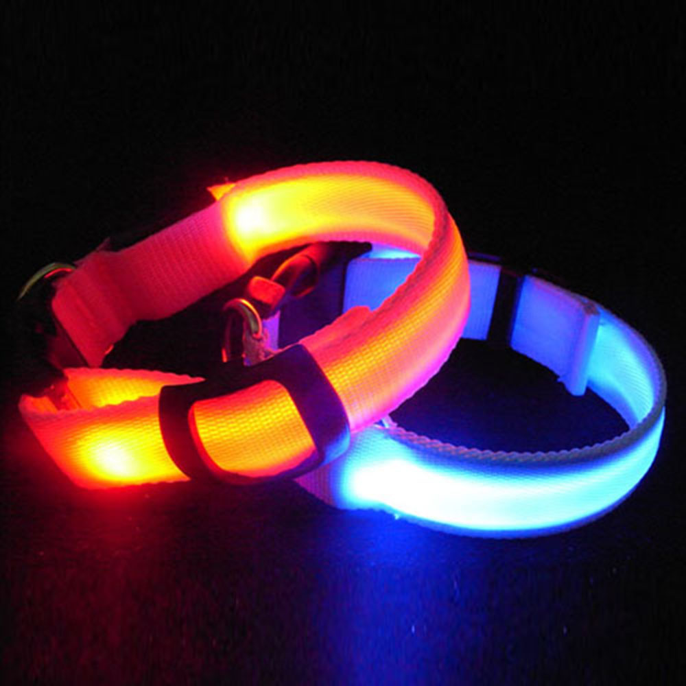 Pet Cat Dog Collars Glow LED Collar Flashing Light Up Night Safety Collars Supplies 6 Color S M L Size Drop Shipping