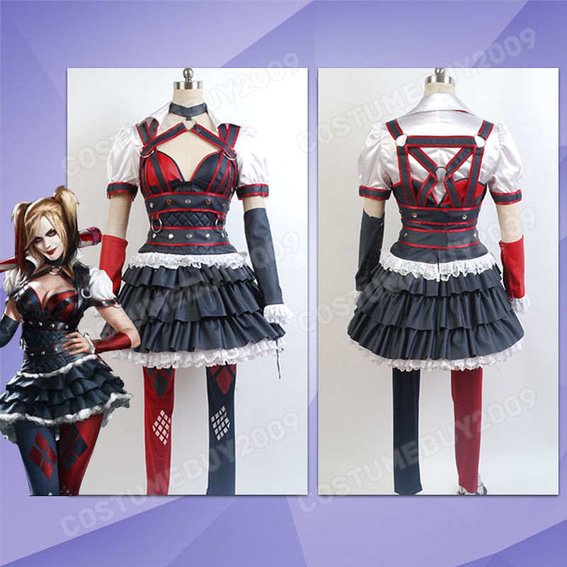 Batman: Arkham Knight City Harley Quinn Cosplay Kostym Klänning Halloween Kostym Full Set