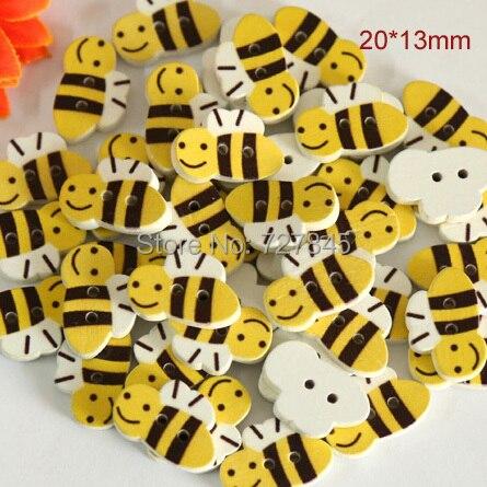 Деревянные пуговицы в форме милой пчелы, размер: 20*13 мм, милые деревянные пуговицы с мультяшным рисунком, оптовая цена (искусственная кожа), 50...