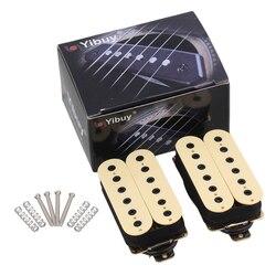 Yibuy الغيتار الكهربائي الرقبة جسر بيك اب هامبوكر مزدوجة لفائف دسم-أبيض عالية الانتاج