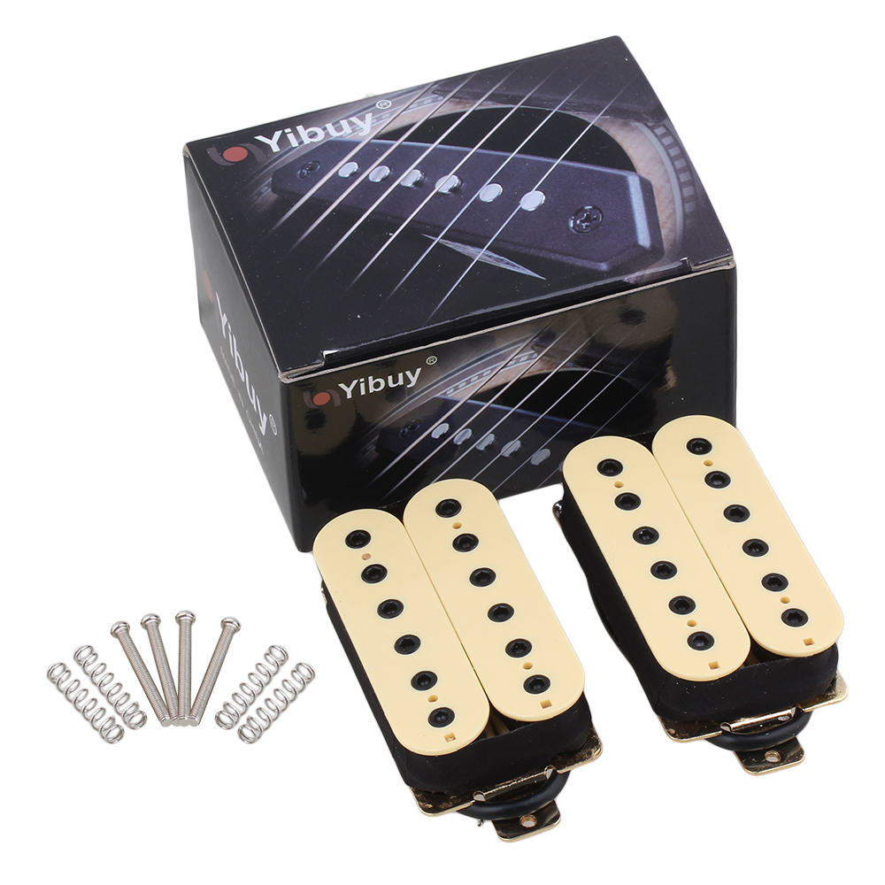 Yibuy Electric Guitar Neck Bridge Pickup Humbucker Double Coil Creamy-White Output Tinggi