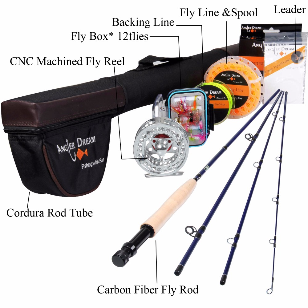 Angler Dream 5WT Fly Fishing Combo 9FT Medium-fast Fly Rod Pre-spooled CNC Fly Reel 5F Fly Line With Cordura Triangle Tube maximumcatch 5 6wt fly fishing combo 9ft fly rod and avid pre spooled reel outfit
