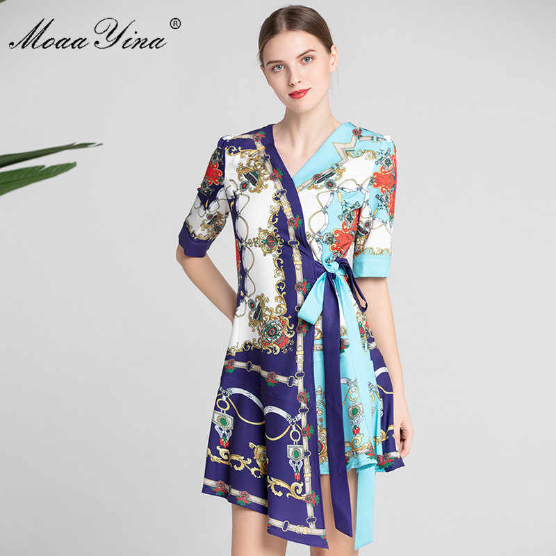 MoaaYina, модное дизайнерское платье для подиума, летнее женское платье с коротким рукавом, v-образным вырезом, с цветочным принтом, на шнуровке, асимметричное платье, женская одежда