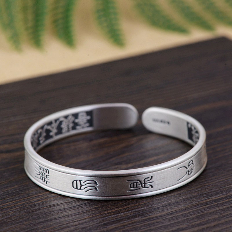 цена FNJ 925 Silver Bangle Simple Mantra 100% S990 Sterling Silver 53MM Adjustable Size Bangles for Women Jewelry Keep Quiet Mood