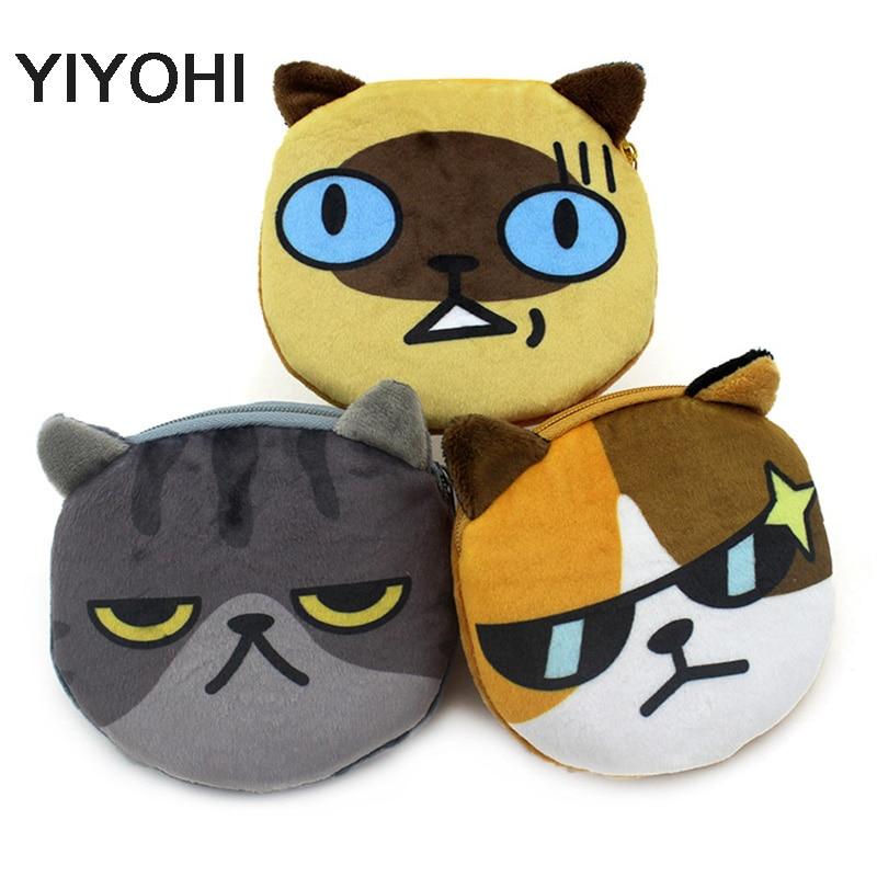YIYOHI Cats come on 3D Print Cute Cat Zipper Plush Coin Purse Kawaii Children Bag Women Wallets Mini Change Pouch Bolsa
