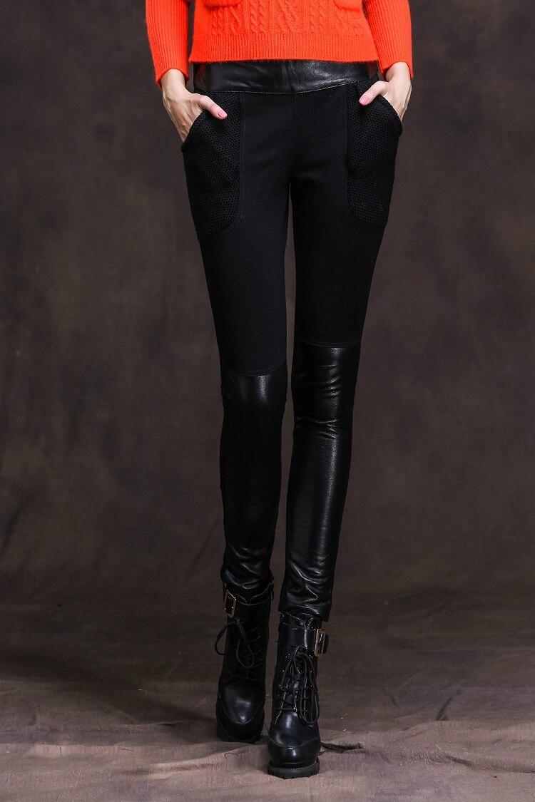 Promotion Winter font b Women s b font fashion slim Sheepskin leather stitching font b leggings