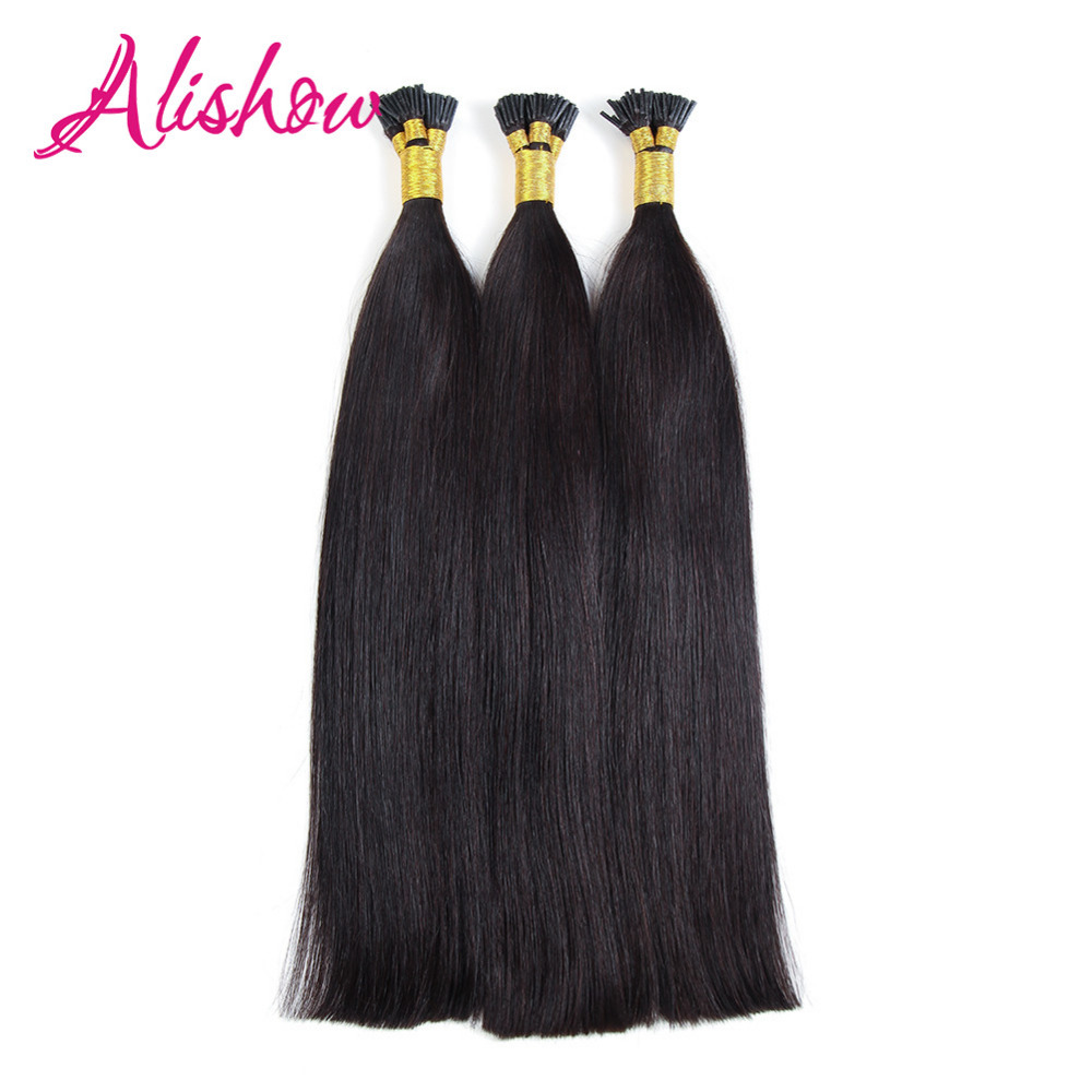 Alishow Machine Made Remy Hair I Tip Keratin Human Hair Extensions