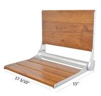 DIYHD 17 3/10 Весна в алюминий рамки тикового дерева Floding сиденье для душа настенное крепление скамейка для душа