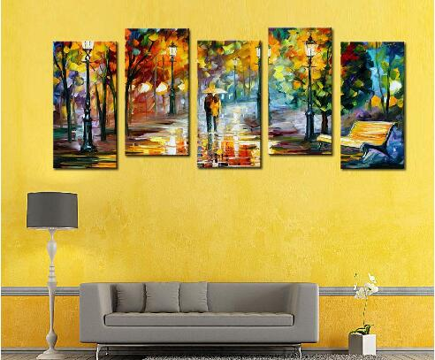 Art Oil Painting Lover Rain Street On Canvas For Wedding Gift Wall ...