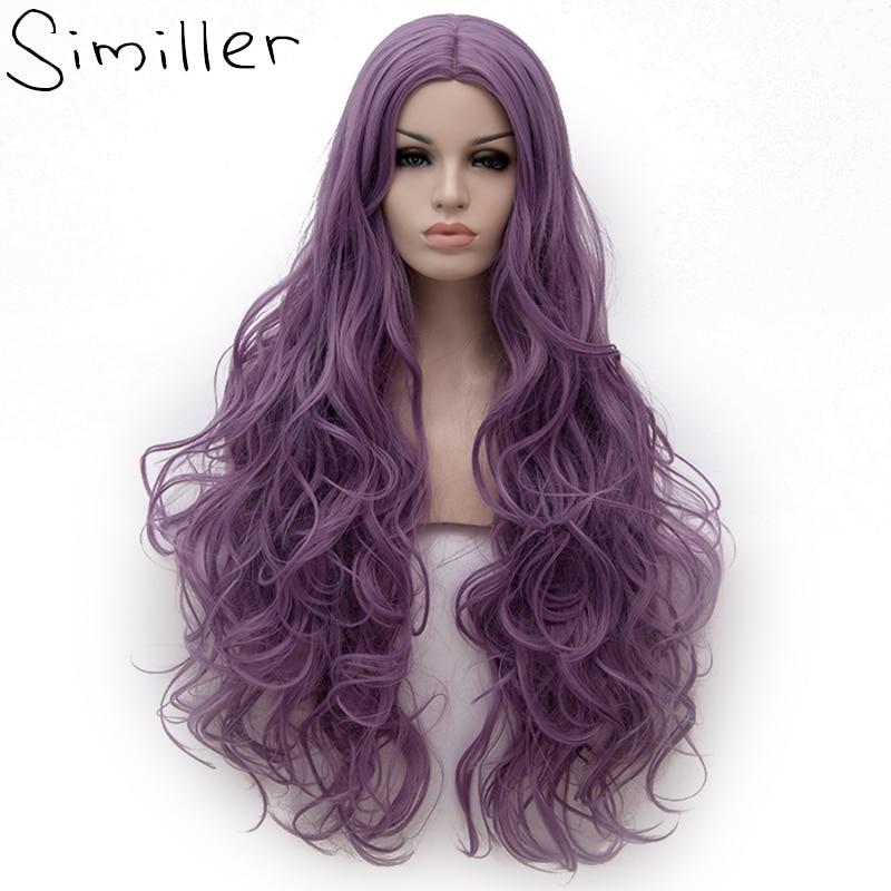 Similler 21 Colori Viola Ondulata Lunga Parrucca Parrucca di Alta Temperatura In Fibra Sintetica Dei Capelli Rosa Delle Donne di Colore Del Partito di Cosplay Parrucche 32