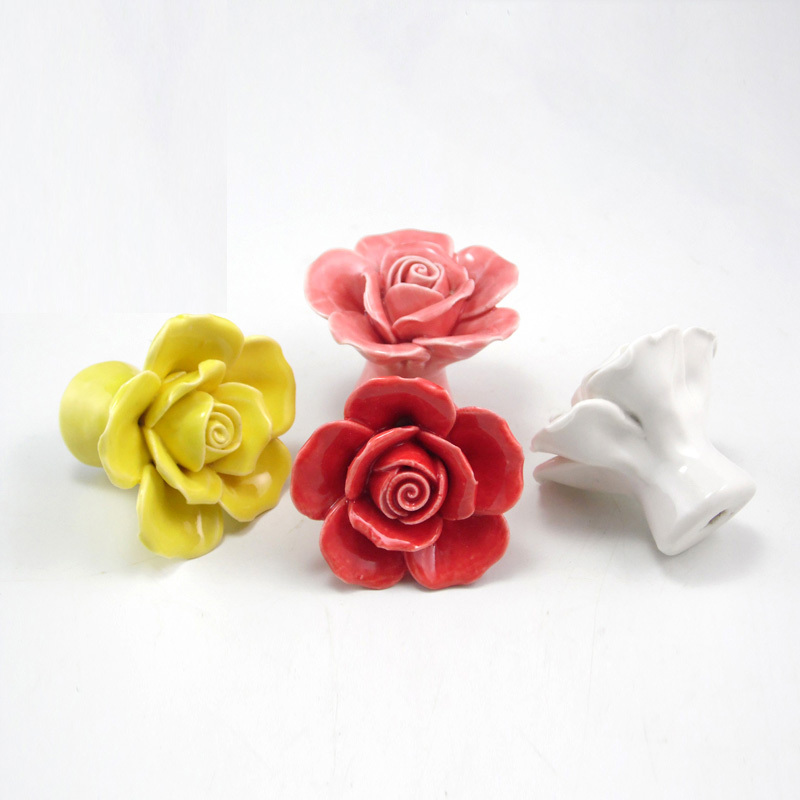 aliexpresscom buy 6pcs white red yellow purple rose handles cabinet ceramic knobs flowers kitchen handles dresser closet kids bedroom furniture from - Decorative Drawer Knobs