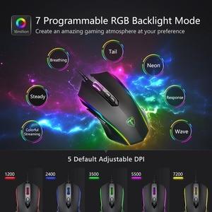 Image 3 - VicTsing ratón para videojuegos RGB, 8 Botones programables, 7200 DPI, ajustable, óptico, con cable, con botón de disparo, para PC