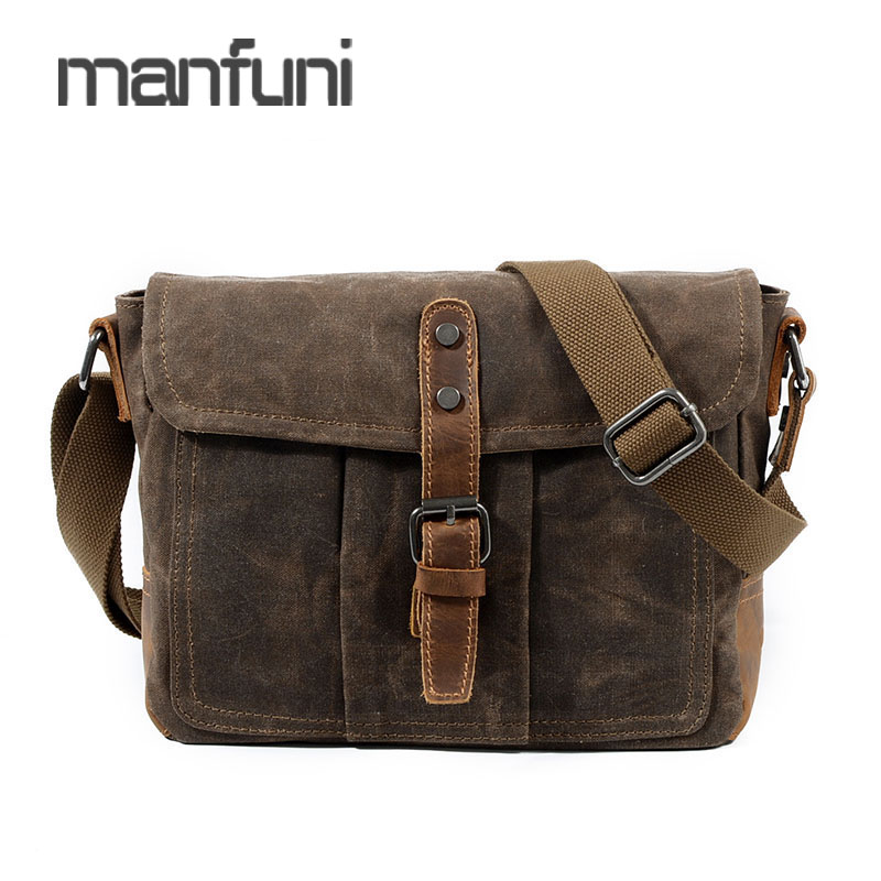 Messenger Bag Men's Oil Wax Canvas Waterproof Crossbody Bags For Men Business Satchel Male Vintage Canvas Small Shoulder Bag the imported oil wax pattern leather singel shoulder satchel small men s messager bag retro 7 inch for outdoor tourism