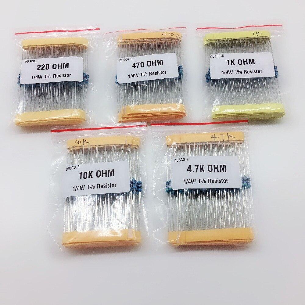 Комплект резисторов 1/4 Вт 500 Вт 0,25 Вт 1%, комплект сопротивления металлической пленки 1K 10K 4,7 k 220 Ом 470 Ом, комплект сопротивления для Arduino UNO 2560, ш...