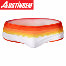 Men's Man Swimwear Rainbow Stripes Swimsuits Swimming Shorts Sports Suits Surf Board Shorts Trunks Men Swim Suits Summer lace up stripes panel swimming shorts