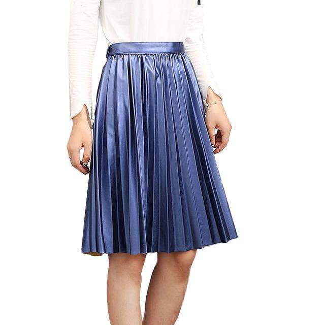 2016 autumn winter vintage women's pu skirts saias na altura do joelho high waist long pleated skirt silver leather saia