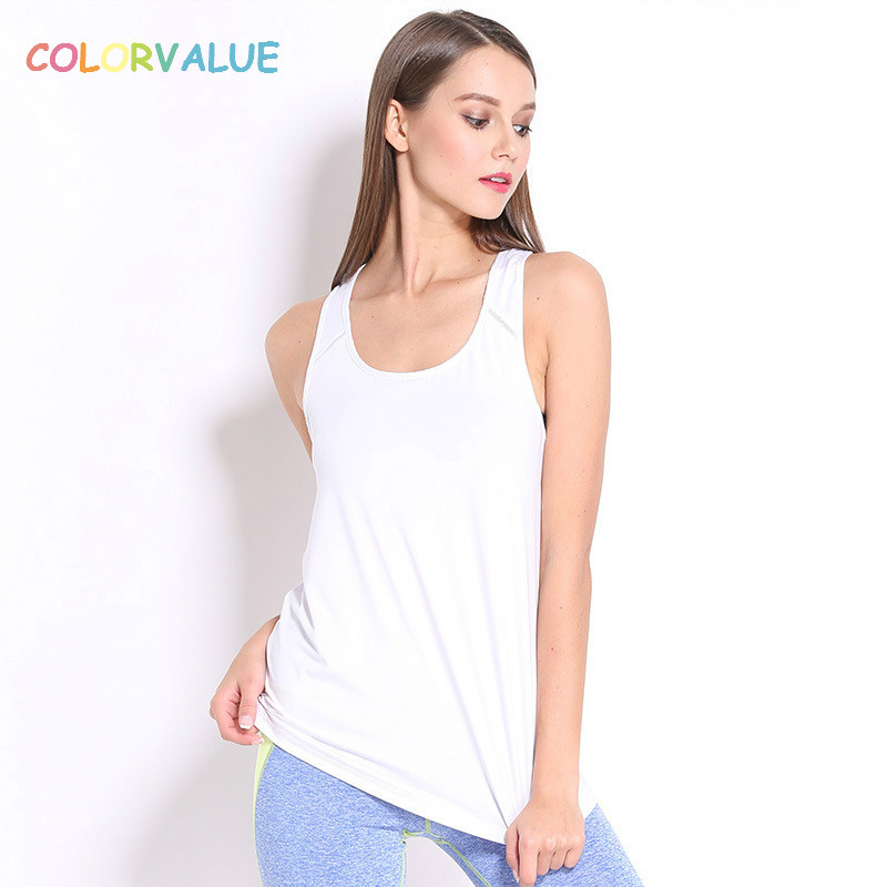 Colorvalue O-neck Running Vest Women Anti-sweat Yoga Fitness Shirt Sleeveless Breathable Solid Athletic Sport Tank Tops u neck sleeveless tank top high waisted solid color bandage skirt twinset for women