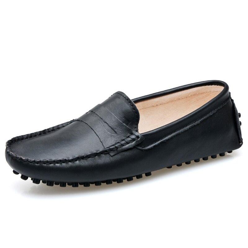 Primavera Otoño Mujeres del Cuero Genuino Zapatos Planos Impermeables Mujer Moca