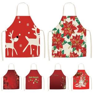 Image 1 - 1 Cái Đỏ Giáng Sinh Tạp Dề Vải Lanh Cotton Tạp Dề 53*65Cm Trưởng Thành Yếm Nhà Nấu Ăn Nhà Bếp Nướng Vệ Sinh phụ Kiện CM1005