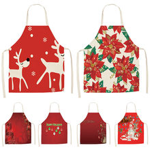 1 adet kırmızı noel önlük önlük pamuk keten önlükleri 53*65cm yetişkin önlükler ev mutfak pişirme pişirme temizleme aksesuarları CM1005