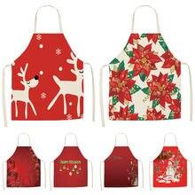 1 pçs vermelho natal avental pinafore algodão linho aventais 53*65cm adulto babadores cozinha casa cozinhar cozimento limpeza acessórios cm1005