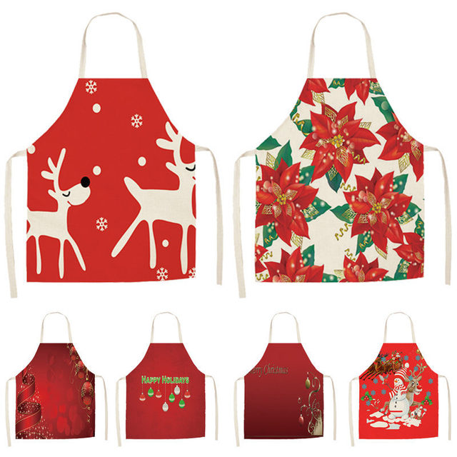 1 قطعة عيد الميلاد الأحمر المئزر pinafront القطن الكتان مآزر 53*65 سنتيمتر مريلة للبالغين المنزل المطبخ الطبخ الخبز تنظيف اكسسوارات CM1005