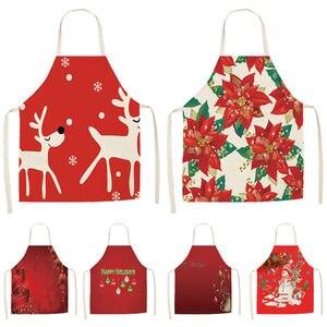 Image 1 - 1Pcs Rot Weihnachten Schürze Pinafore Baumwolle Leinen Schürzen 53*65cm Erwachsene Lätzchen Home Küche Kochen Backen Reinigung zubehör CM1005