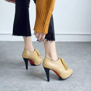 Image 2 - Big Size 11 12 13 14 15 ladies high heels women shoes woman pumps Round headed single shoe waterproof table lace strap