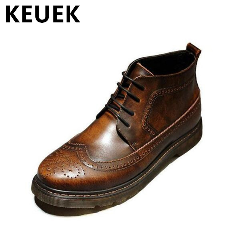 British style Autumn Men boots Genuine leather Vintage Brogue Shoes Cow Muscle Outsole Low-heel Male Ankle boots 022 british style vintage men ankle boots genuine leather male tooling boots riding equestrian lace up autumn winter 2 5