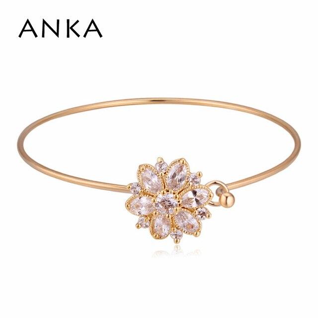 Aliexpress buy anka fashion top zircon flower shape bangle anka fashion top zircon flower shape bangle lotus flower charm luxury gold color jewelry bracelet for mightylinksfo
