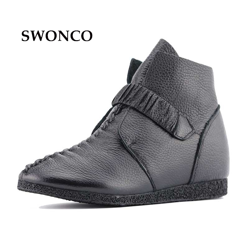 SWONCO Women Ankle High Boots Shoes Pregnant Women Handmade Genuine Leather Ankle Boots Low Heel Elastic Hided Wedge Heel nayiduyun women genuine leather wedge high heel pumps platform creepers round toe slip on casual shoes boots wedge sneakers