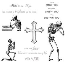 AZSG Sad Skeleton Cross Clear Stamps For DIY Scrapbooking Decorative Card making Craft Fun Decoration Supplies 14x14cm
