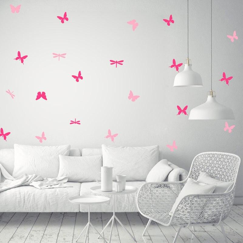 Létající motýli vážka Různé barvy Vinyl dětský pokoj - Dekorace interiéru