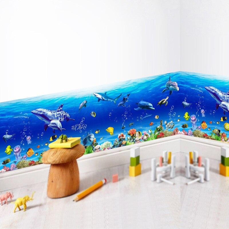 Underwater Wall Stickers Ocean Fish Shark Dolphin Marine Art Decals 3d effect Kindergarten Bathroom Toilet Decoration