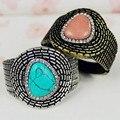 Vintage Turquoise Stone Cuff Indian Bangles For Women Big Boho Wrap Bracelets Bangles With Stone 2017 Fashion Jewelry
