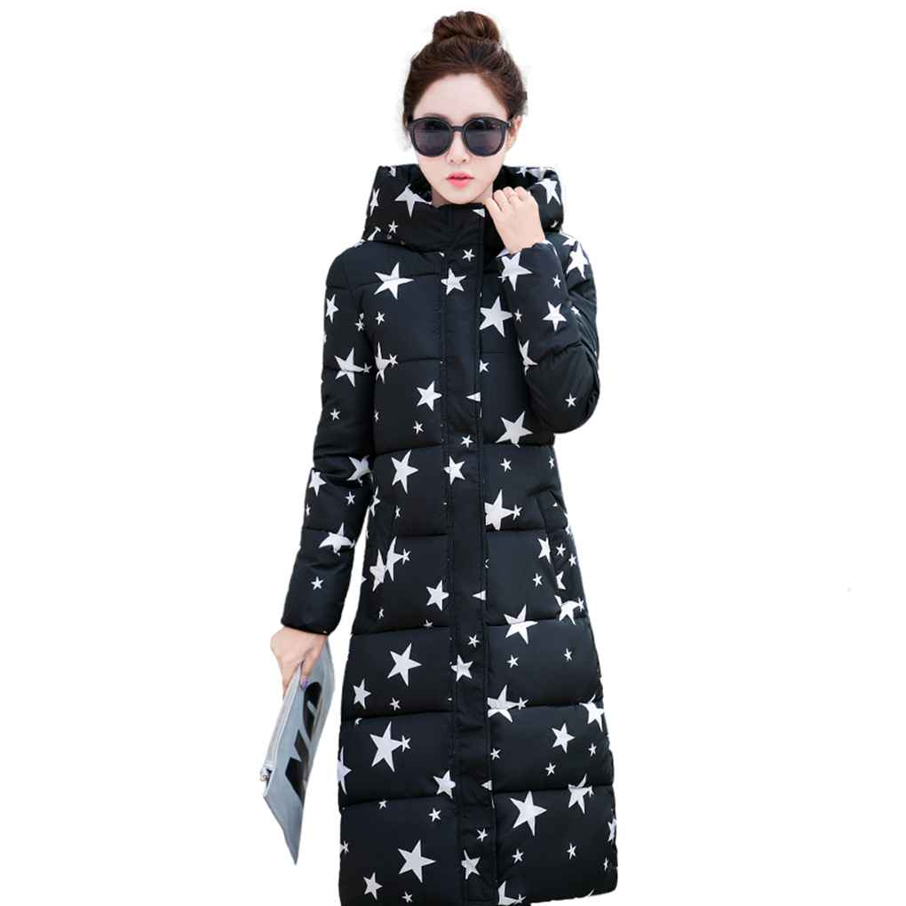 Wome Winter Star Five-Pointed And glasses Star Printing Keep Warm Cotton Coat Hooded Long Thickening Warm Jacket europe and the united states long sleeve hooded keep out the cold winter to keep warm and comfortable cotton coat