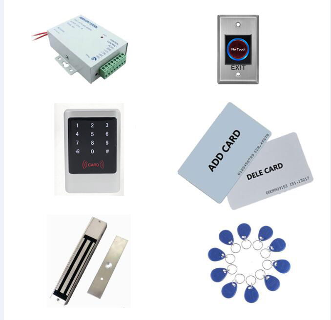 access control kit,metal shell access controller+power+280kg magnetic lock+exit button+10 keyfob ID tags,sn:Tset-6access control kit,metal shell access controller+power+280kg magnetic lock+exit button+10 keyfob ID tags,sn:Tset-6