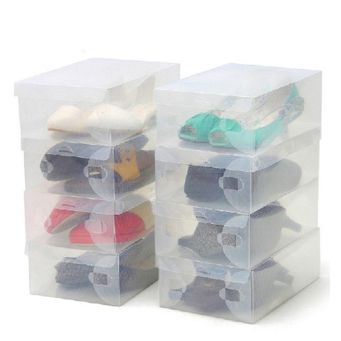 Useful 10Pcs Transparent Clear Plastic Shoes Storage Boxes Foldable ...