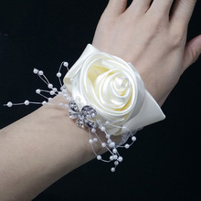 10Colors Artificial Bride Flowers Silk Rose Hand Flower Bridesmaid Wrist For Wedding Decoration