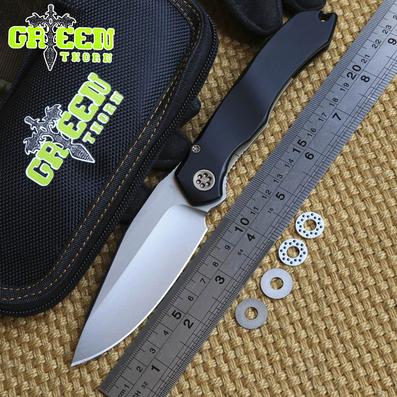 GREEN THORN Anax ball bearing tactical folding knife  D2 blade aluminum handle camping hunting outdoor knives pocket EDC tools  цены