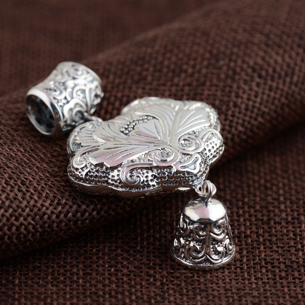 FNJ 925 Silver Heart Pendant New Fashion Flower Bell 100% Pure S925 Solid Thai Silver Pendants for Women Men Jewelry Making