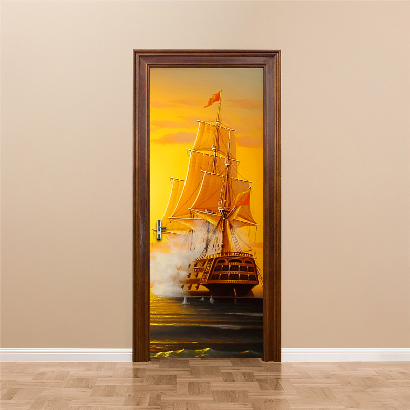 цена на PVC Self-adhesive Wall Sticker DIY Door Mural Vinyl Wallpaper Home Decor Living Room Bedroom Door Decoration Mural Sailboat