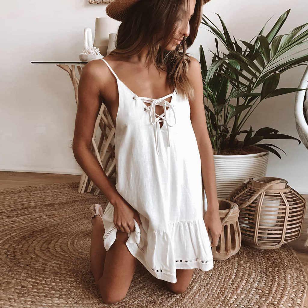 女性のセクシーなドレス V ネックノースリーブ背中のドレスソリッドドレス女性の夏のドレスの女性パーティーの夜 vestidos verano に 2019