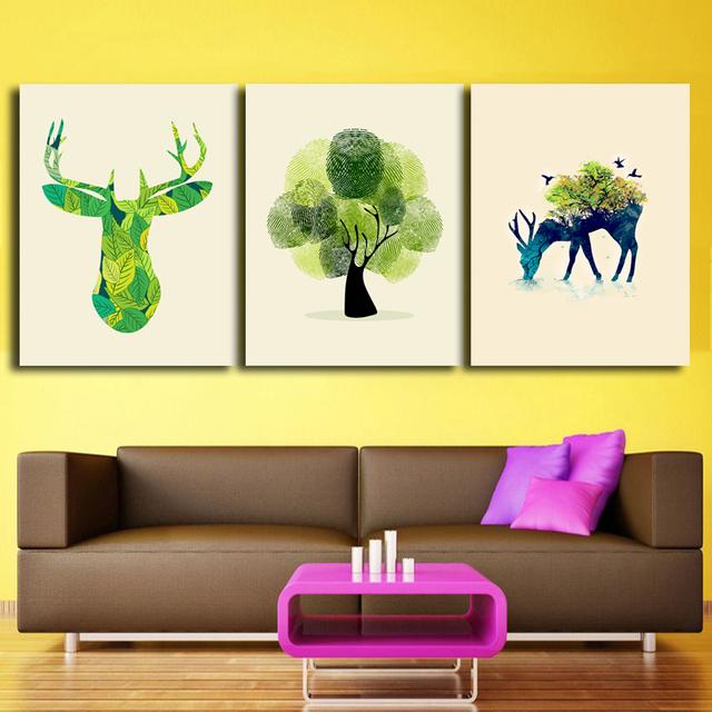 Modern Canvas Painting Deer Tree Poster Canvas Prints Wall Art Wall ...