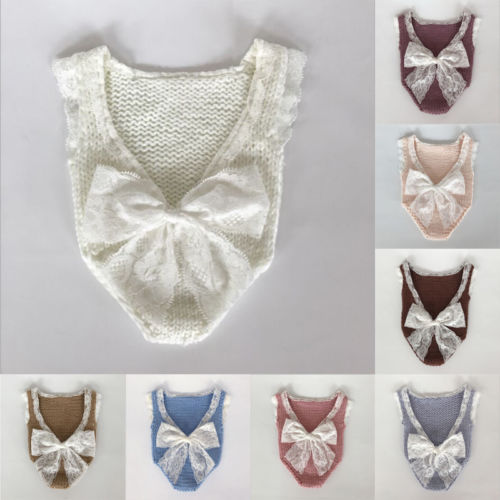 HOT Newborn Infant Baby Boys Girls Photography Knitting Lace Clothes Bow Romper Toddler Boy Girl Casual Lace Rompers Sunsuits