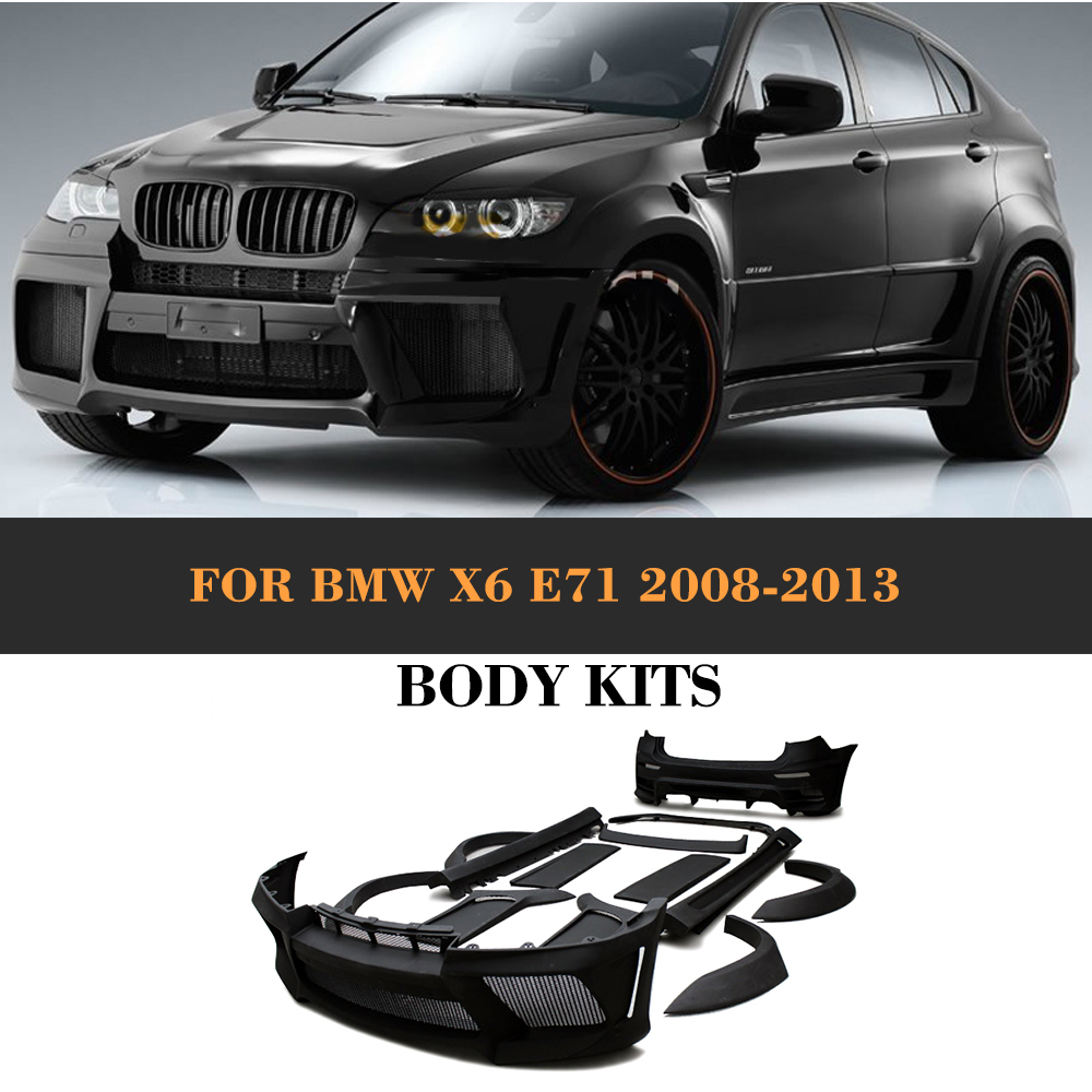 Black primer frp body kit kits with exhaust for bmw x6 e71 suv 4 door 2008