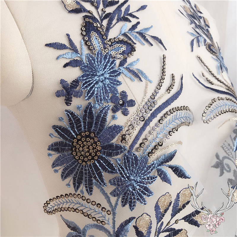 1Pc Flower Sequins Lace Edge Trim Wedding Ribbon Embroidered Applique Sewing Craft DIY Lace Patch For Wedding Dress in Lace from Home Garden