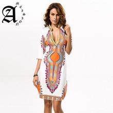 Ameision 3XL Plus Size African Clothes Dashiki Dress Women Summer Hippie Print Fabric Femme Boho Robe
