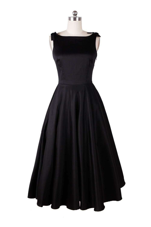 Audrey hepburn stile vintage 50 s 60 s abiti little black tea lunghezza elegante vestito casuale abbigliamento donna spedizione gratuita - 4
